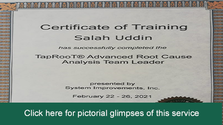 Mr. Salahuddin Johar becomes Taproot certified lead inestigator in the United States  Learn More